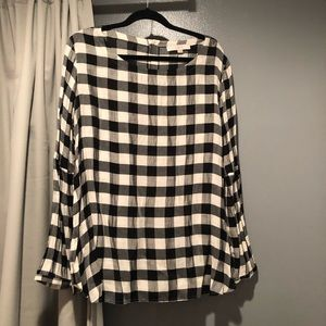 LOFT B/W Checkered ButtonUp Back Blouse XL EUC
